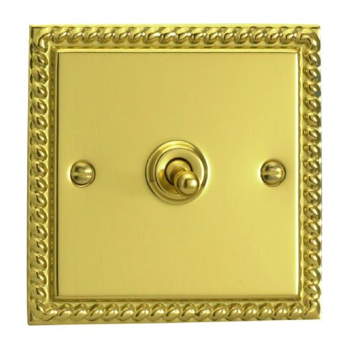 Varilight XGT1 Georgian Polished Brass 1 Gang 10A 1 or 2 Way Toggle Light Switch